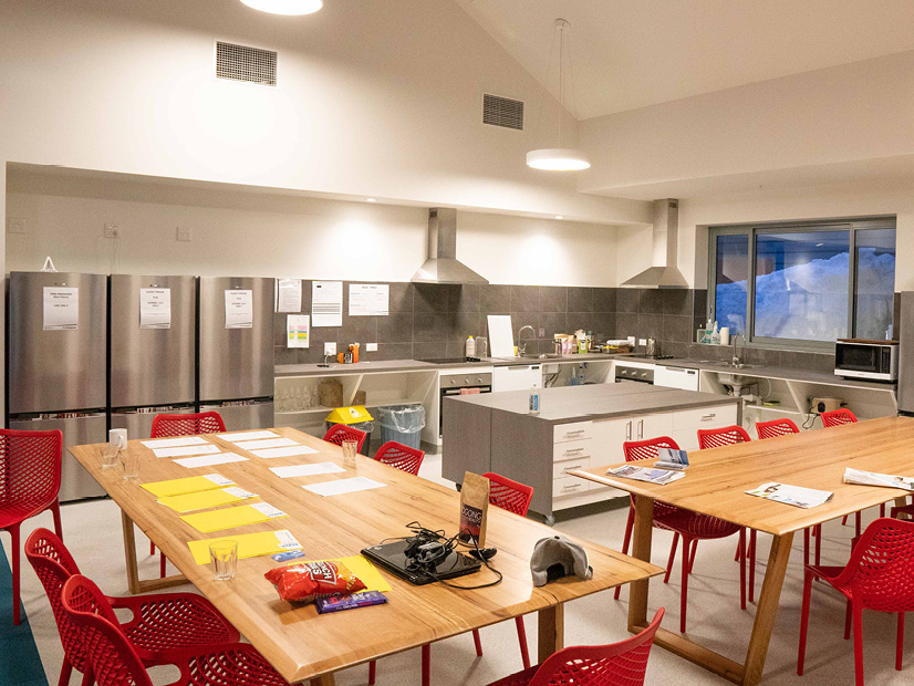 The kitchen of the All Access Abilities Building at Howmans Gap Alpine Centre.